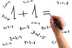 Hand, die mathematische Gleichungen zeichnet Lizenzfreies Stockfoto