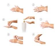 Hand die medische procedure stap voor stap wassen Royalty-vrije Stock Foto's