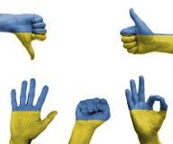 Hand die met de vlag van de Oekraïne wordt geplaatst Royalty-vrije Stock Fotografie