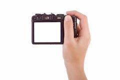 Hand die met een digitale camera fotografeert Stock Foto