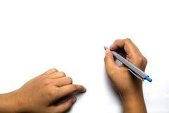 Hand die met een pen schrijven Stock Afbeeldingen