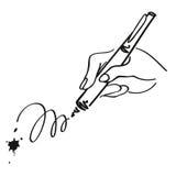 Hand die met een pen schrijven Vectoroverzichtsillustratie Stock Fotografie