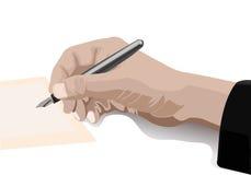 Hand die met pen in retro stijl schrijft Stock Fotografie
