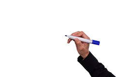 Hand die met pen voor zaken op isolate schrijven stock foto