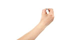Hand die met teller schrijft stock afbeeldingen