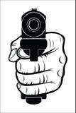Hand, die mit dem Gewehr auf Sie zeigt Stockfotos