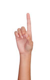 Hand, die mit den Zeigefingern auf etwas zeigt Stockfotografie