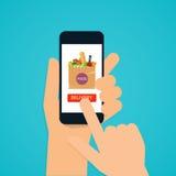Hand die mobiele slimme telefoon met de levering van het toepassingsvoedsel houden stock illustratie