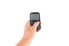 Hand die mobiele telefoon houdt Royalty-vrije Stock Foto
