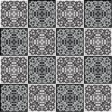 Hand die naadloos patroon voor tegel in zwart-witte kleuren trekken Royalty-vrije Stock Foto's