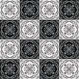 Hand die naadloos patroon voor tegel in zwart-witte kleuren trekken Stock Afbeelding