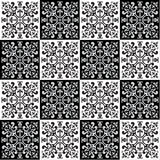 Hand die naadloos patroon voor tegel in zwart-witte kleuren trekken Royalty-vrije Stock Fotografie