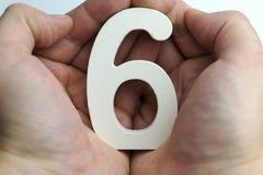 Hand, die Nr. sechs hält Stockfotografie