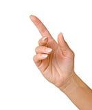 Hand, die oben zeigt Stockfoto