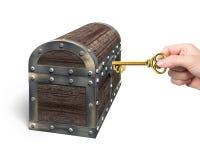 Hand, die offene Schatztruhe des Dollarzeichen-Schlüssels hält Stockbilder