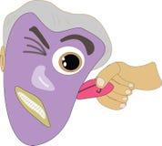 Hand, die Ohr auf purpurroter Gesichtsillustration zieht Stockbilder