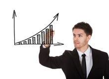 Hand die op de grafiekbord van de winstgroei schrijven Stock Foto's