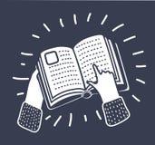 Hand die op een boekpictogram richten, vectorillustratie Royalty-vrije Stock Afbeelding