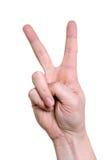 Hand die op het teken van de vredesoverwinning wijst Stock Foto