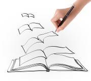 Hand die open vliegend boek trekken Stock Afbeeldingen