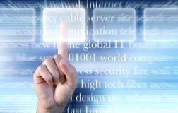 Hand die opties over technologieachtergrond kiest stock illustratie