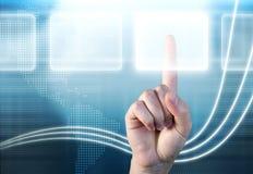 Hand die opties over technologieachtergrond kiest Royalty-vrije Stock Afbeelding