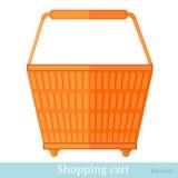 Hand die oranje mand achtermening shoping Stock Afbeelding