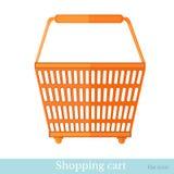 Hand die oranje mand shoping Royalty-vrije Stock Afbeelding