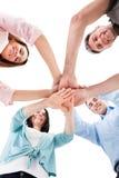Hand die over elkaar wordt gestapeld Stock Foto