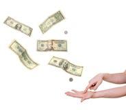 Hand die in palm het eisen geld richt Royalty-vrije Stock Foto's