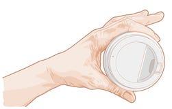 Hand, die Papiertasse kaffee hält Stockbild