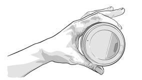 Hand, die Papiertasse kaffee hält Lizenzfreie Stockfotos