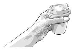 Hand, die Papiertasse kaffee hält Lizenzfreie Stockfotografie