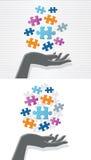 Hand und Puzzlespiel lizenzfreie abbildung