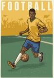 Hand die retro stijl van voetballer trekken stock illustratie
