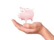 Hand die roze spaarvarken houdt Royalty-vrije Stock Afbeelding