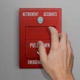 Hand, die Ruhestand-Konto-Warnung zieht lizenzfreie abbildung