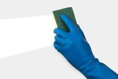 Hand, die schmutzigen Bereich säubert lizenzfreies stockfoto