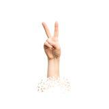Hand, die Siegeszeichen auf weißem Hintergrund zeigt Stockfoto