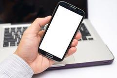 Hand die slimme telefoon houden (Mobiele Telefoon) Royalty-vrije Stock Foto's