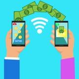 Hand die slimme telefoon met bankwezenbetaling app onttrekken De overdracht van het geld De uitwisseling van de munt Mensen die e royalty-vrije stock afbeelding