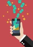 Hand, die Smartphone mit Banknote im Umschlag hält Lizenzfreie Stockfotografie