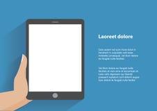 Hand, die smartphone mit leerem Bildschirm hält Stockbild