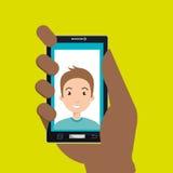 Hand, die Smartphonepersonenfrau hält Lizenzfreie Stockfotos