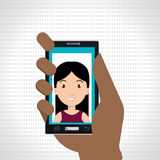 Hand, die Smartphonepersonenfrau hält Stockfotos