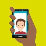Hand, die Smartphonepersonenfrau hält Stockfoto