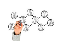 Hand, die Sozialnetz zeichnet Stockbild