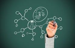 Hand, die Sozialnetz zeichnet Stockfoto