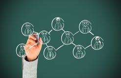 Hand, die Sozialnetz zeichnet Stockbilder