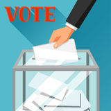 Hand die stemmingsdocument in stembus zetten Politieke verkiezingenillustratie voor banners, websites, banners en flayers Stock Foto's